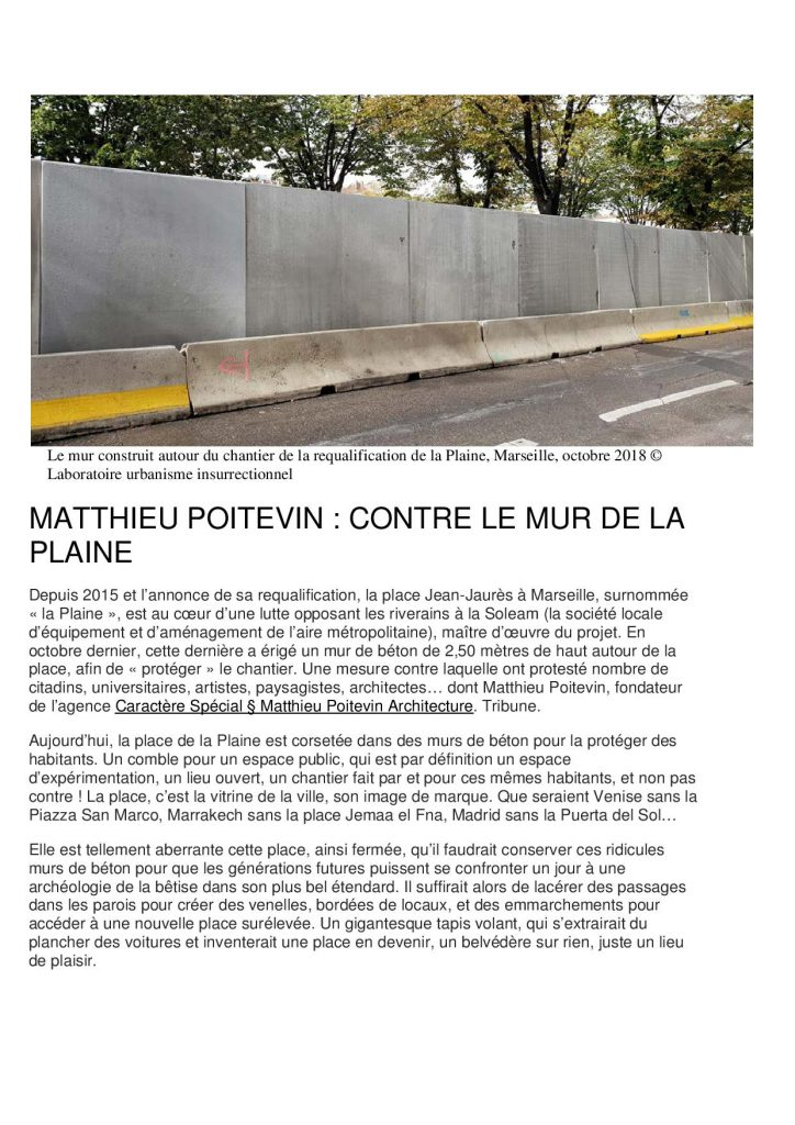 Le mur construit autour du chantier de la requalification de la Plaine - Laboratoire Urbanisme Institutionnel - octobre 2018