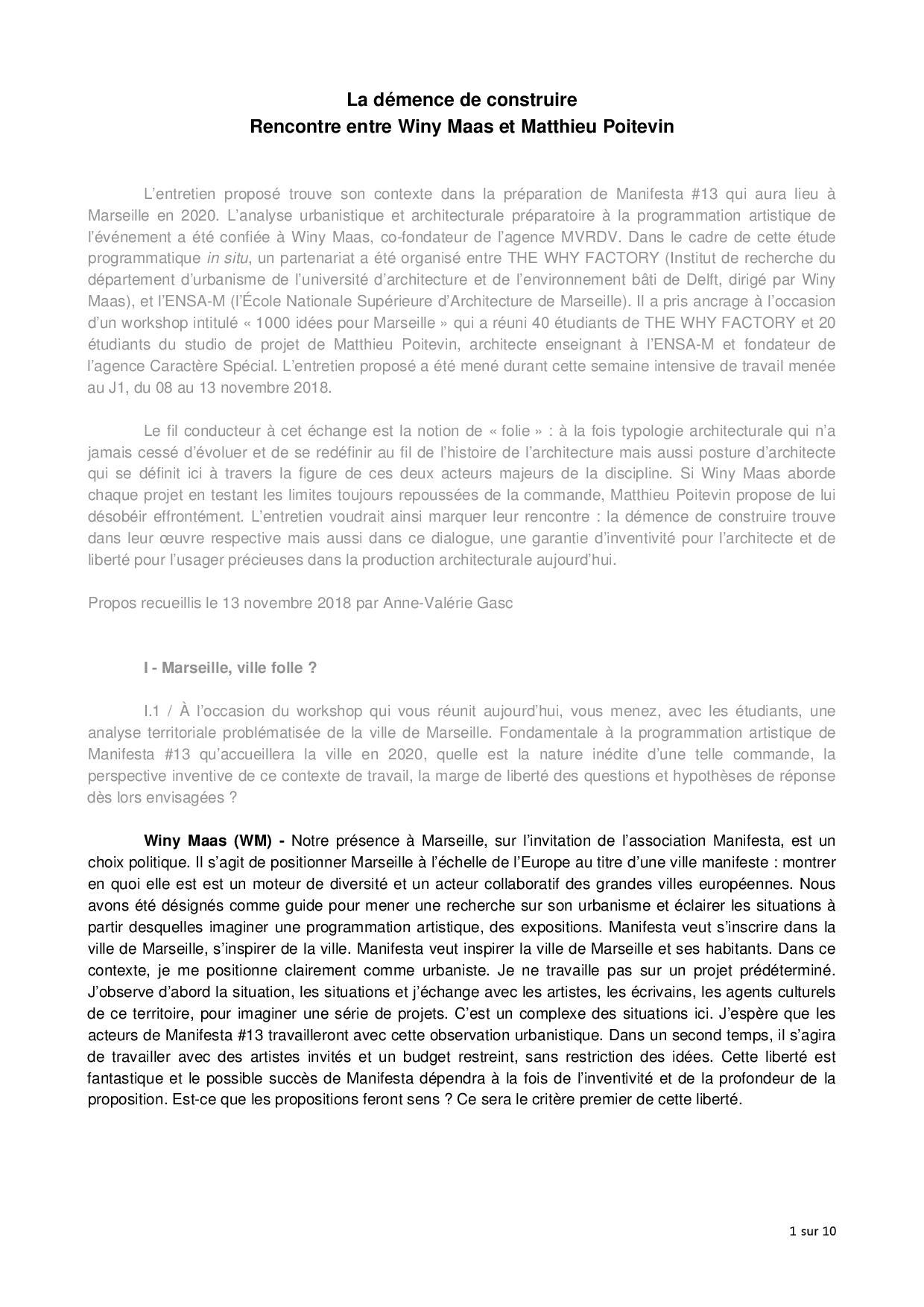 Entretien entre Winy Maas  et Matthieu Poitevin | Caractère Spécial Architecture