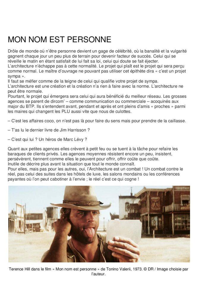 Tribune Matthieu Poitevin - Mon nom est personne