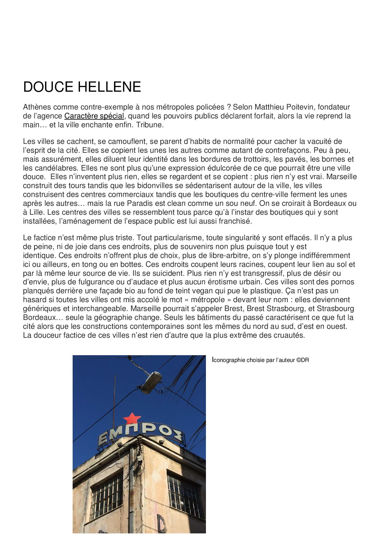 Douce Hellene - Textes & Tribunes - Matthieu-Poitevin Architecture - Caractère Spécial