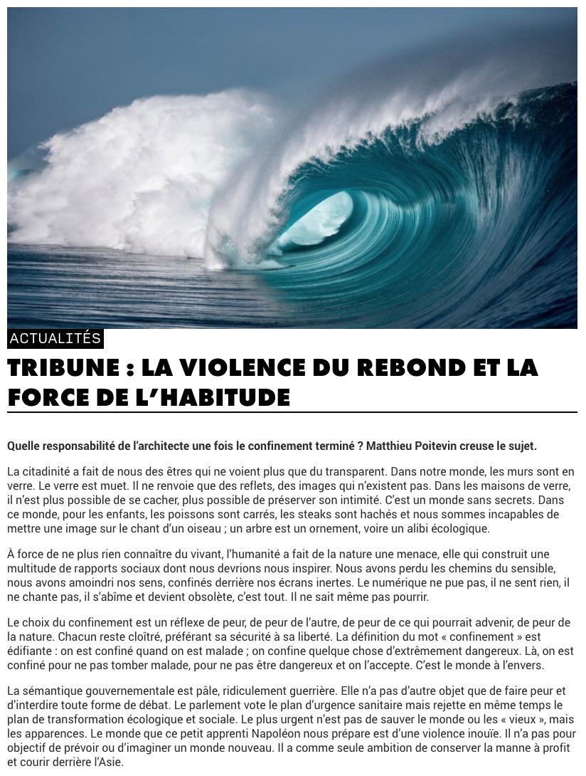 Matthieu Poitevin - La violence du Rebond et la force de l'habitude - Caractère Spécial