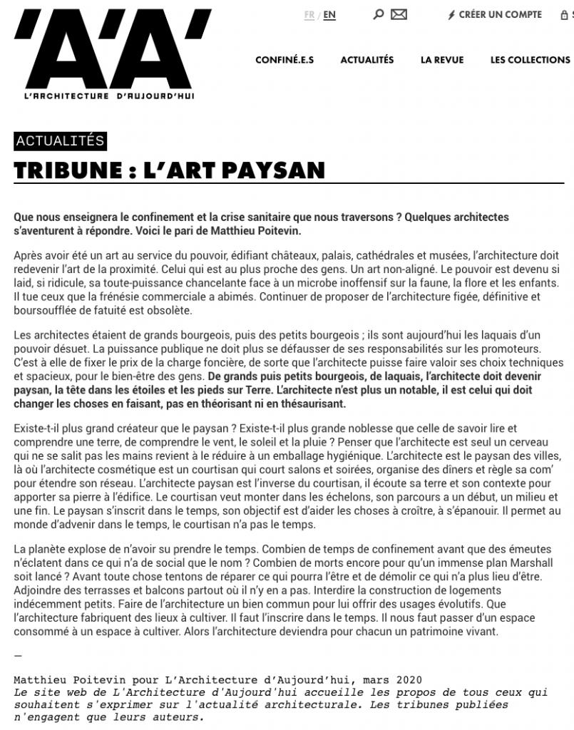 Matthieu Poitevin - L'art paysan - Caractère Spécial
