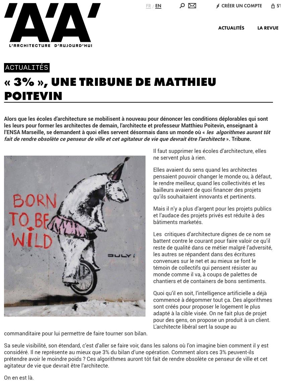 Tribune AA Matthieu Poitevin - 3% - L'ARCHITECTURE D'AUJOURD'HUI